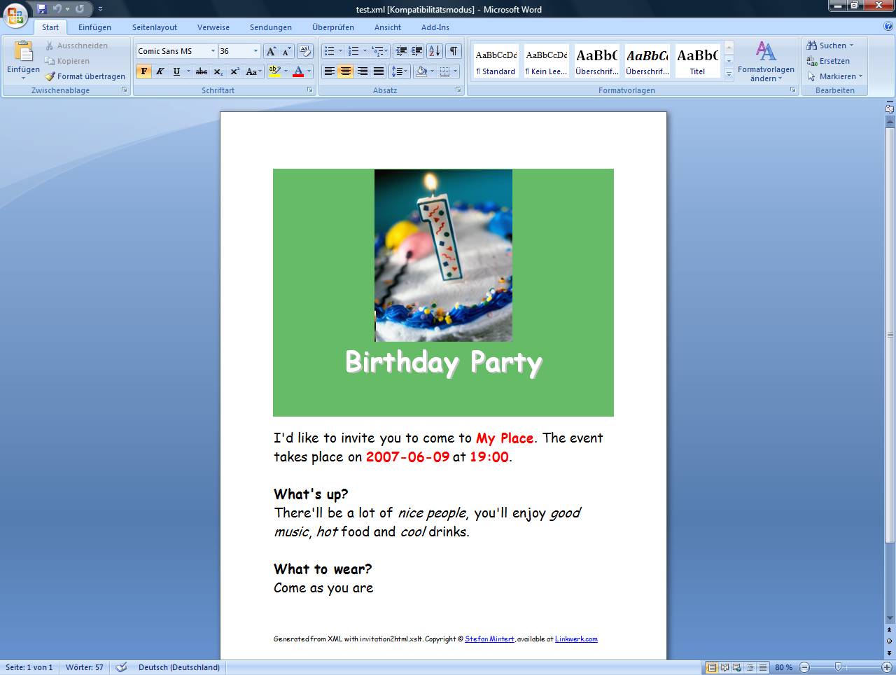 Word 2003 Birthday Invitation Template